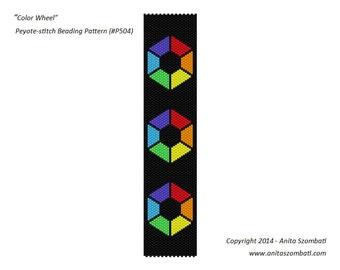 Peyote Bead Pattern Bracelet Color Wheel Beading Pattern Bracelet Cuff Pattern Seed Beads Pattern Odd Peyote Pattern