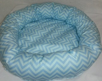 Blue Chevron Pet Bed Toy Size Dogs Cats Handmade Poly Fil Fiber Stuffed Sides Washable