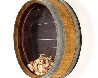 "Wall Mounted Wine Barrel Cork Display -BARREL ART - ""Kala"" - 100% recycled"