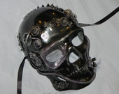 Silver Full Face Skeleton Mask with Steampunk Detailing - Steampunk Mask