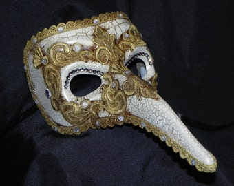 Ivory and Gold Plague Doctor Mask - Masquerade Mask - Venetian Mask