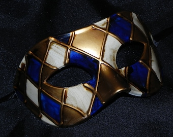 Gold, Off White, and Royal Blue Harlequin Mask