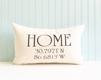 longitude and latitude pillow cover, coordinates pillow cover, housewarming gift, wedding gift, personalized pillow cover, newlywed gift