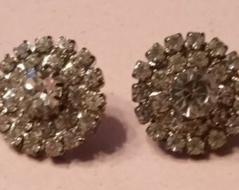 Vintage Round Silver Tone Clear Rhinestones Earrings Faceted For Pierced Ears Bride Bridal Something Old