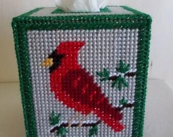 Christmas Cardinal Tissue Box Cover, Plastic Canvas Tissue Cover, Winter Home Decor, Christmas Decor, Christmas Tissue Box, Winter Cardinal