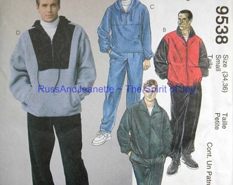 Size Mens 34 36 McCalls 9538 Jacket Top Pull On Pants Sport Athletic Casual Fashion Gym Uncut Sew Sewing Pattern
