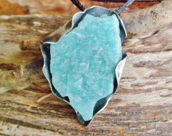 Rough Amazonite Pendant. Rough Stone Pendant. Handmade Pendant. Raw Amazonite Necklace. Oxidized Silver Pendant. Amazonite Properties.