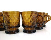 Kimberly Fire King Brown Glass Diamond Mugs - Set of 6 / Geometric Vintage Glassware