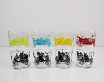 Vintage Antique car drinking glasses by Federal - Set of 4