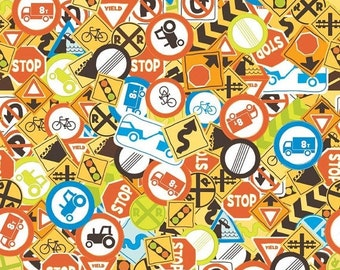 Summer Clearance Riley Blake Fabric - 1 Yard of On The Go Signs in Multi