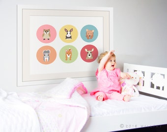 Woodland nursery art. Baby nursery art picture. Forest friends for baby nursery. Woodland artwork. Girls nursery. Print by WALLFRY