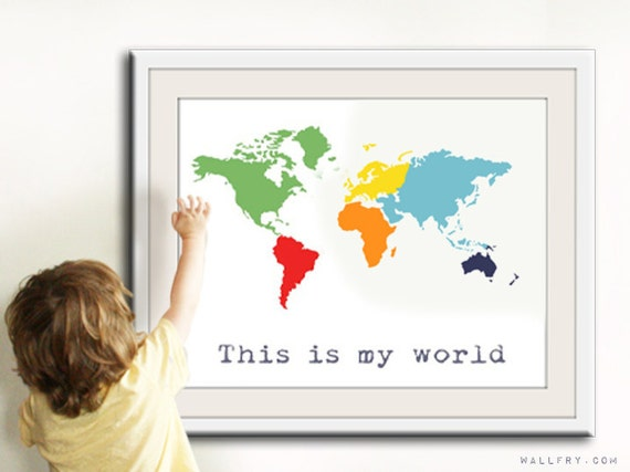 World Map Children decor. Kids wall art for children. Baby nursery decor. Kids playroom art, children prints. Map nursery print by WallFry