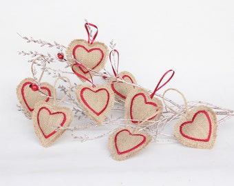 Set of 8 Hessian Heart Christmas Tree Decorations - Rustic - Burlap Tree Ornaments - UK Seller - Scandinavian Embroidered Festive Decor