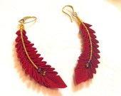 Tsumami  zaiku. Kanzashi. Red Feather drop earrings. Fabric feather charm. Bohemian feather. Japanese kimono fabric.