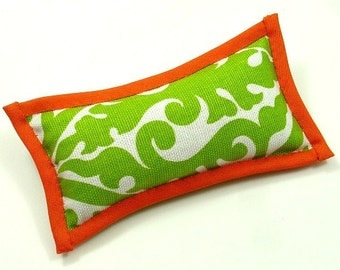 Catnip Toys, Green and Orange Cat Pillows, Sophisticated Cat, Big Cat Toys, Catnip Pillow Toys,  KITTY, in the LAP of LUXURY