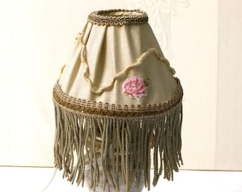 Shabby chic lampshade, Table decor, Bedroom light, Holiday Gift idea , Fabric cottage bedroom light , chic lamp, French country lamp.
