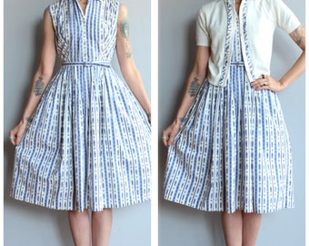 1950s Dress // Periwinkle Kaleidoscope Stripe Dress & Cardigan // vintage 50s dress