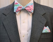 Men's Pocket Square and Bow Tie, Lilly men's bow tie,  Blue Pink Bow Tie, Groomsmen Gift, Wedding Bow Tie, Men's Gift, cotton pocket square