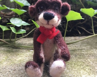 Ooak needle felted brown teddy bear