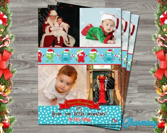 Printable Holiday Christmas Photo Card - Red Blue Green Little Monsters - 4x6 or 5x7 - Customizable