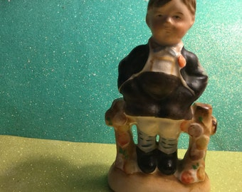 Young Boy Sitting On Fence Vintage Figurine Made In Japan