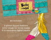 Boho Cowgirl Kit with social media cover image, five digital papers, two glitter dipped feathers and FREE bonus PicMonkey tutorial bohemian