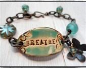 Boho Bracelet Breathe Chain Bracelet Butterfly Charm Chez Glass Picasso Bead Bracelet Turquoise African Bead
