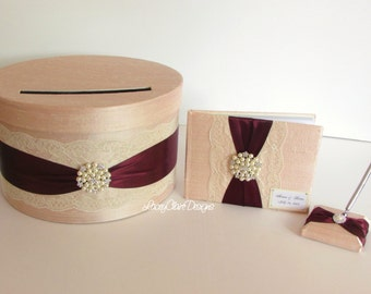 Wedding Card Box and Guest Book Set, Money Box, Card Holder  - Custom Made