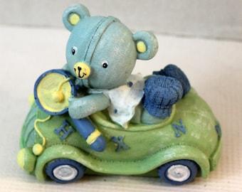 Baby Blue Teddy in Car Resin Decorative Figurine cake topper room decor pastel