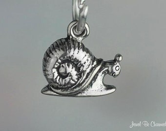 Snail Charm Miniature Sterling Silver Happy Little Garden Snails Tiny
