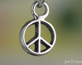 Miniature Peace Sign Charm Sterling Silver Symbol Very Small Tiny .925