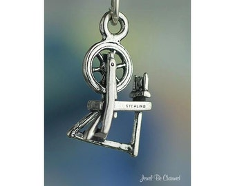 Sterling Silver Spinning Wheel Charm for Spinning Yarn 3D Solid .925