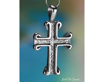 Sterling Silver Cross with Scrolls CHARM or PENDANT Religion Solid 925