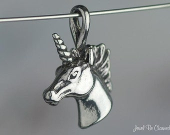 Small Unicorn CHARM or PENDANT Sterling Silver Horse Head 3D Solid 925