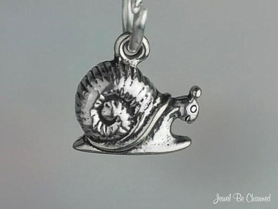 Snail Charm Miniature Sterling Silver Happy Little Garden Snails Tiny