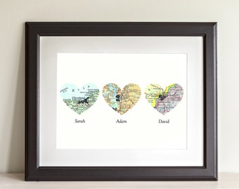 CUSTOM Three Heart Map Art Print. Print Only. You Select Locations Worldwide And Personaized Text. Family Home Decor. Housewarming Gifts.
