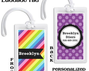 Backpack Tag School Luggage Tag Diaper Bag Kids Baby Back to school School bag tag backpack identification rainbow bag tag Personalized Tag