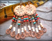 Native Tribal Copper Earrings, Southwest Earrings, Dreamcatcher Chandelier Earrings, Star and Arrow Earrings, Southwest Jewelry