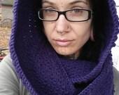 Dark Purple Hooded Circle Scarf