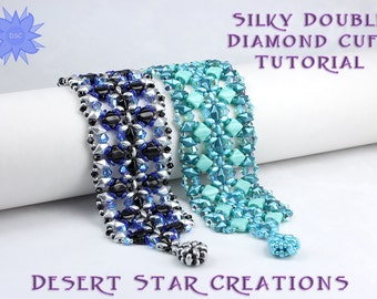 Silky Double Diamond Cuff Bracelet Tutorial, Beadweaving Pattern, Two Hole Bead Modified RAW PDF Instructions, Silky Bead, DiamonDuo Bead