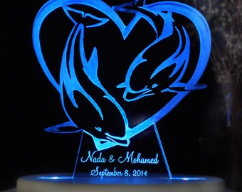 Dolphin Heart Wedding Cake Topper -  Acrylic -Personalized - Light Extra
