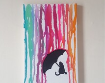 Cat under umbrella melted Crayon canvas - small