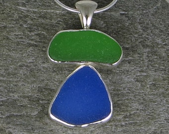 Bright Green and Blue Sea Glass Bezel Pendant Necklace