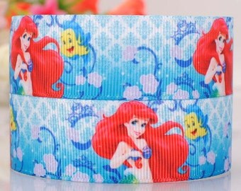 "3 yards 25 mm (1 "" ) Grosgrain Ribbon Disney Princess Mermaid Printed Ribbon Hair bow ribbon Sewing Ribbon Scrapbook"