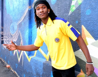 Vintage Polo Shirt - 80s Bright Yellow and Navy Blue Short Sleeved Polo Style Mens Shirt w San Francisco Eagles Club Logo - Size L XL