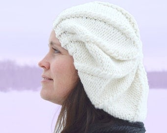 """Instant Download PDF Slouchy Beanie Knitting PATTERN - Woman's Knit Hat, Girls' Hat, """"Snow White and Mary Margaret Tam"""" - Quick, Bulky, Easy"""