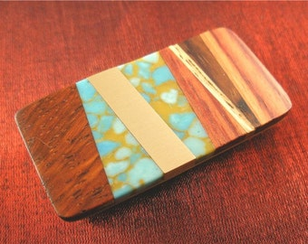 Turquoise and Wood Money Clip Wallet Mens Gifts for Men Birthday, Mens Jewelry MC219