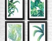 Banana Leaf Prints, Tropical Leaf Art, Tropical Wall Art, Banana Leaf, Beach House Decor, Palm Tree, Palm Tree Print, Fern, Set of 4