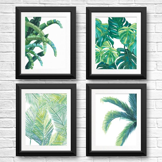 Banana Leaf Prints Tropical Leaf Art Tropical Wall Art