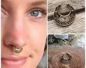 Fake Septum Piercing, Nose Ring, Gold